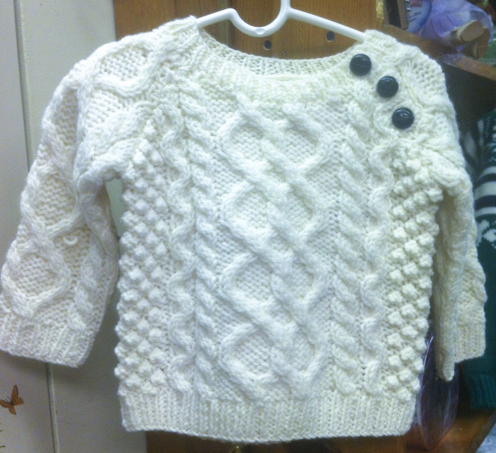 Irish Handknit Merino Wool Child Aran Sweater