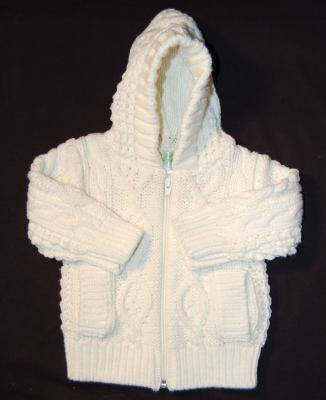 Zippered Hoodie Knitting Pattern : Acrylic Child Aran Knit Zippered Hoodie