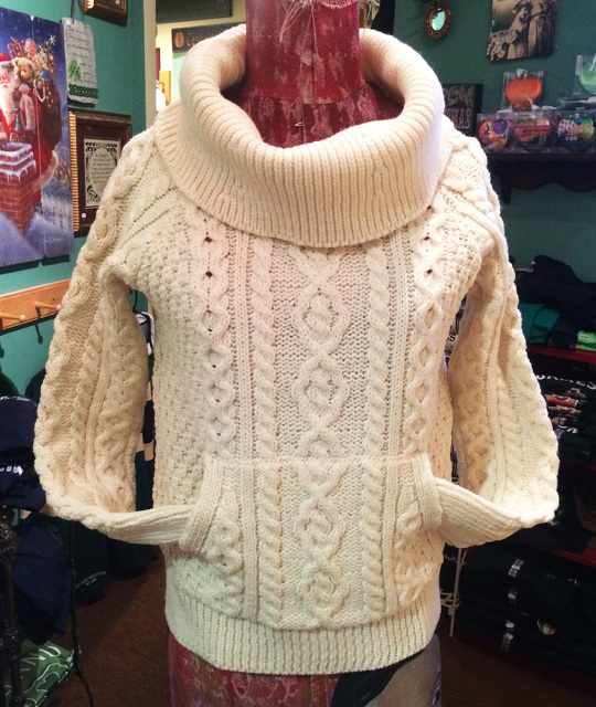 Cowl Neck Aran Cable Knit Sweater with Pockets