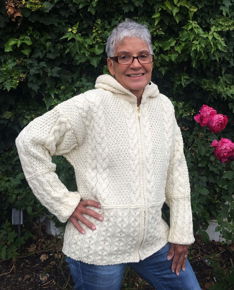Zippered Hoodie Knitting Pattern : Zippered Aran Cable Knit Hoodie