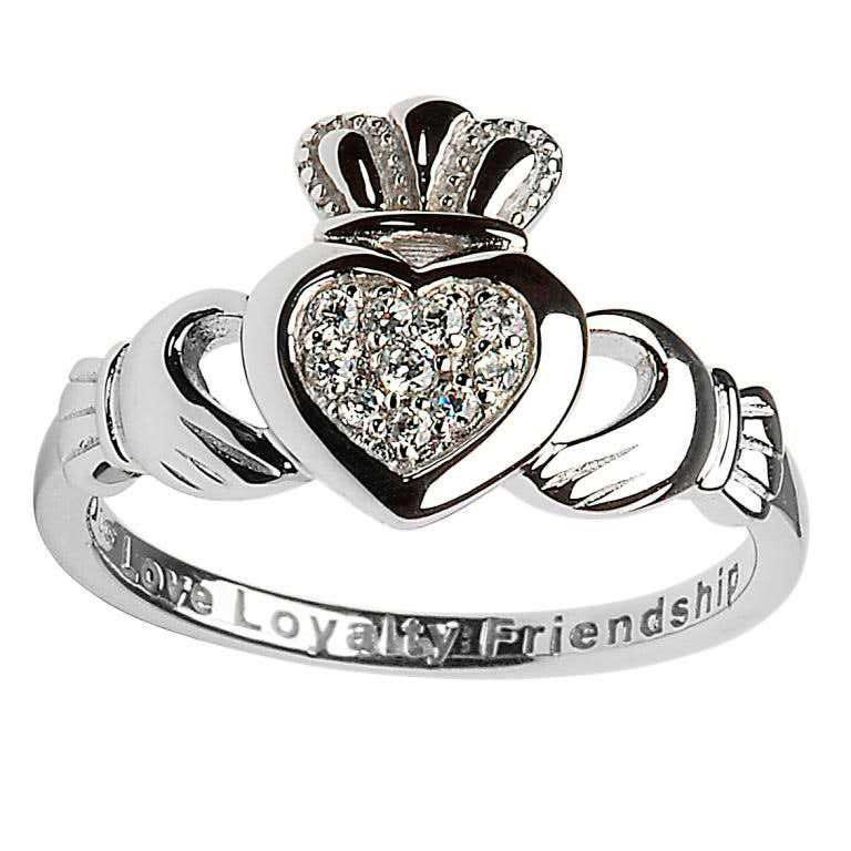 claddagh pave sterling silver ring
