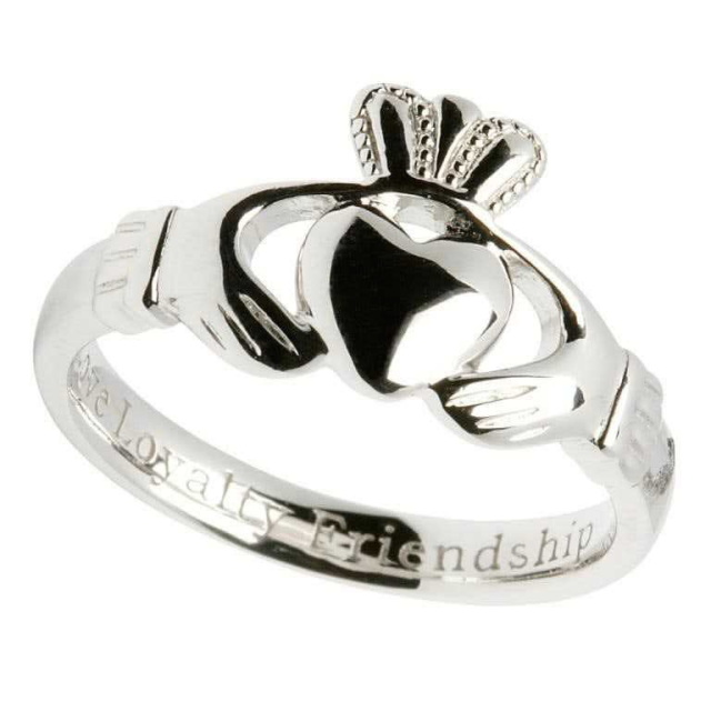 Ladies Inscribed Sterling Silver Claddagh Ring